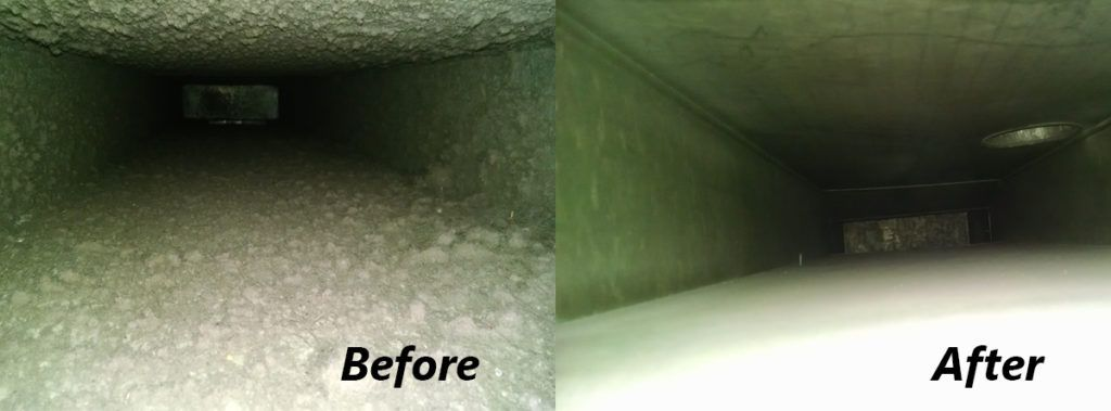 Ducts before and after cleaning